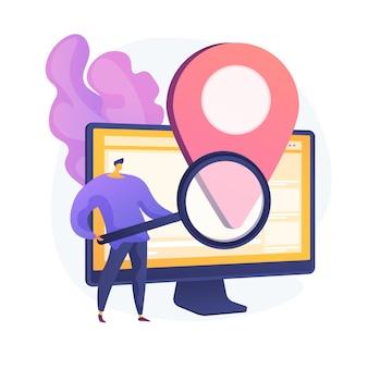 Publicité basée sur l'emplacement. logiciel de géolocalisation, application gps en ligne, système de navigation. restriction géographique. homme à la recherche d'adresse avec loupe. illustration de métaphore de concept isolé de vecteur