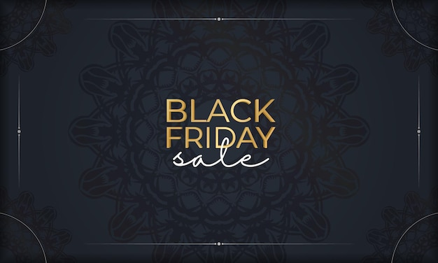 Publicité de célébration pour les ventes du vendredi noir bleu foncé avec un motif rond