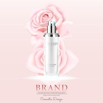 Publicité cosmétique avec pétale de roses sur fond rose.