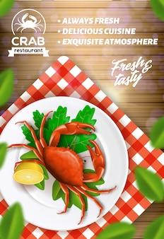 Publicité dans un restaurant de fruits de mer, menu de crabe