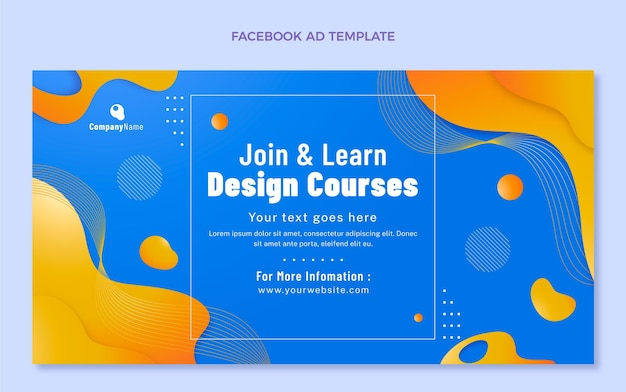 Publicité facebook de la technologie des fluides abstraits dégradés