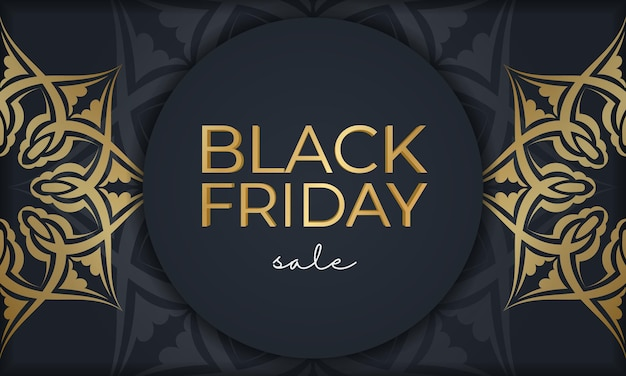 Publicité festive pour le vendredi noir bleu foncé avec motif doré vintage