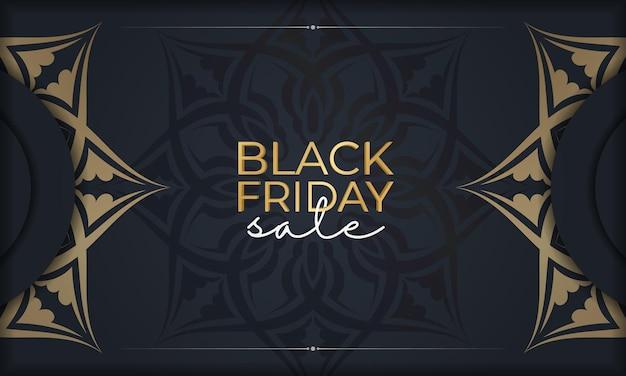 Publicité festive pour le vendredi noir bleu foncé avec ornement géométrique en or