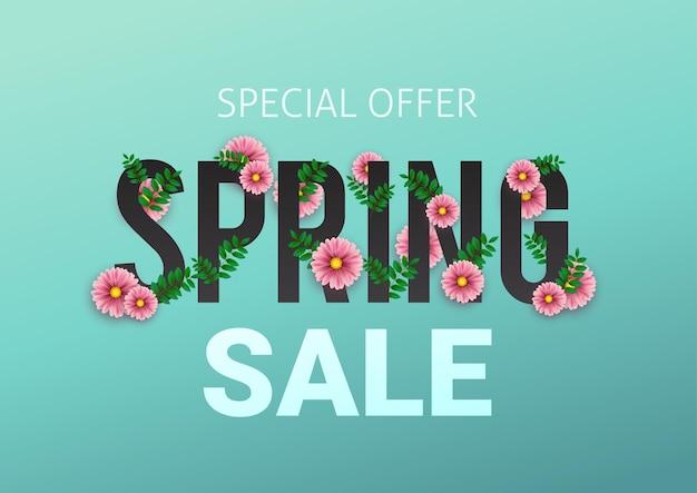 Publicité florale de vente de printemps