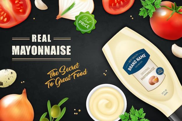 Publicité horizontale de mayonnaise réaliste illsutration