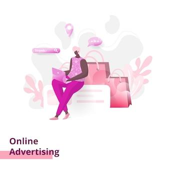 Publicité en ligne, le concept d'un homme assis tout en utilisant un ordinateur portable