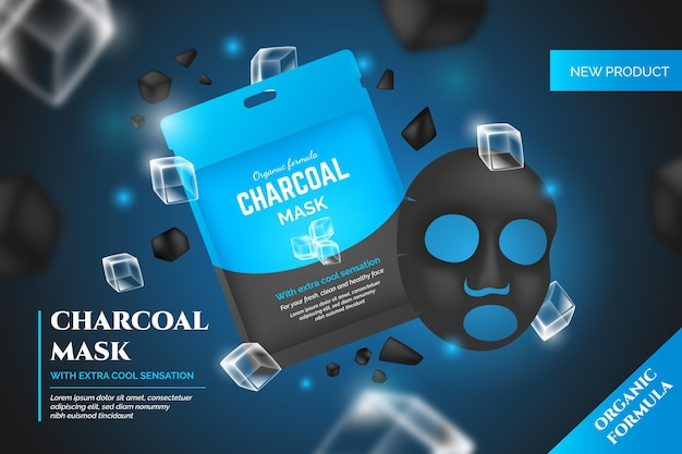 Publicité de masque de feuille de charbon de bois réaliste