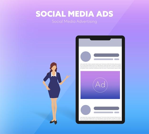 Publicité sur les médias sociaux présentant des personnes.