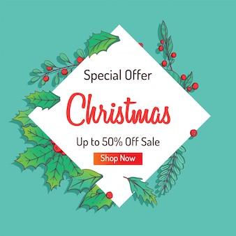 Publicité de noël pour vente ou remise avec des feuilles colorées d'hiver