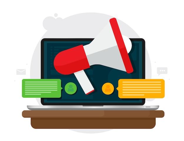 Publicité numérique et concept de marketing numérique. mégaphone sur ordinateur portable à écran.