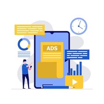 Publicité numérique, optimisation du référencement, stratégie de médias sociaux et concepts de promotion avec caractère à l'aide d'un smartphone.