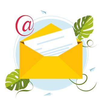 Publicité par e-mail. boîte aux lettres et enveloppes entourées d'une notification par des icônes. concept de courrier électronique représenté par l'icône d'enveloppe et de boîte aux lettres. message de boîte aux lettres plein de lettres et d'informations sur les spams. bombardement d'e-mails.