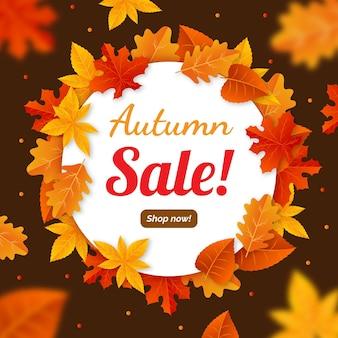 Publicité de promotion de vente d'automne illustrée