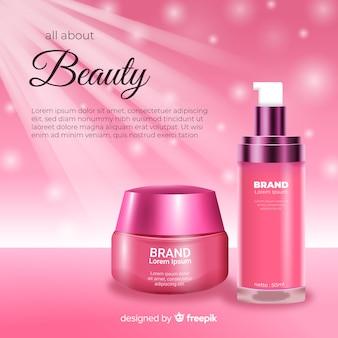 Publicité réaliste beauté cosmétique vente