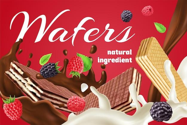 Publicité réaliste avec des gaufrettes à la crème au chocolat et aux baies faites d'ingrédients naturels sur fond rouge