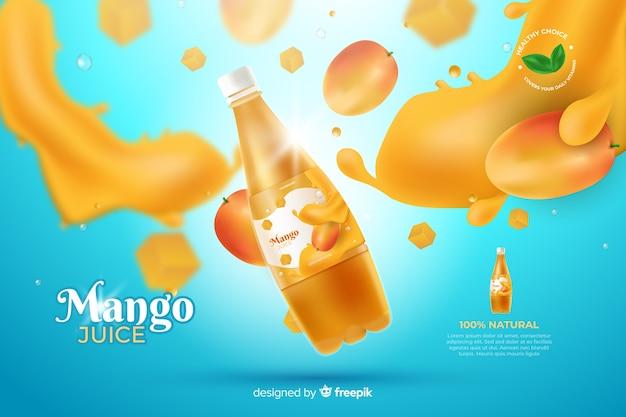 Publicité réaliste de jus de mangue