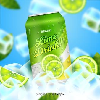 Publicité réaliste de soda à la lime