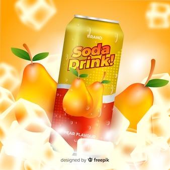 Publicité réaliste de soda à la poire
