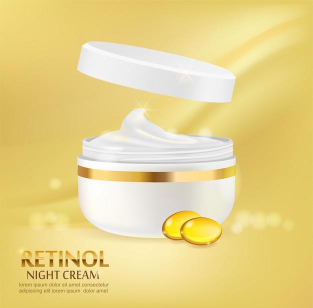 Publicité de récipient cosmétique avec des capsules de crème et jaune.