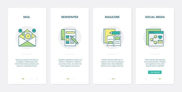 Publicité sur les réseaux sociaux, campagne promotionnelle ux, ensemble d'écran de page d'application mobile ui