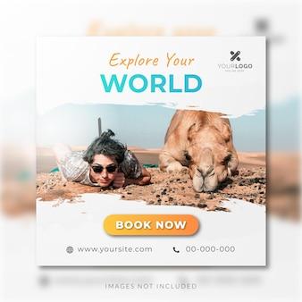 Publicité sur les réseaux sociaux de voyage