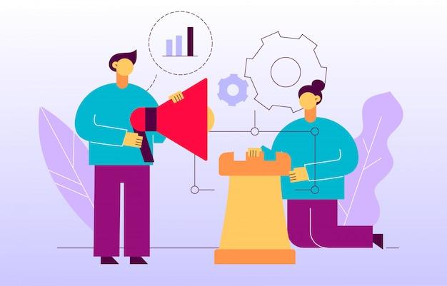 Publicité de vecteur et bannière de page web de stratégie marketing
