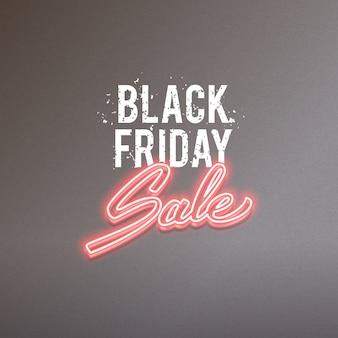 Publicité de vecteur de vente noir vendredi, conception de texte réaliste néon lumineux