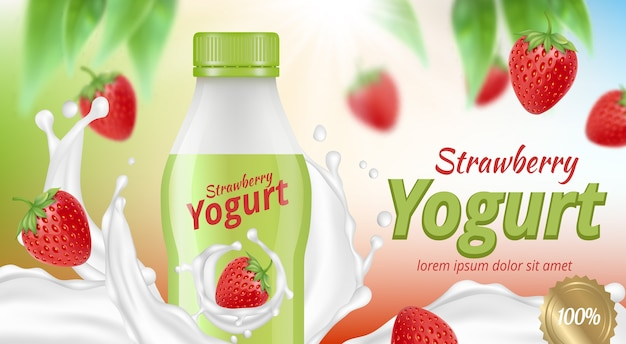 Publicité sur le yaourt. nourriture liquide délicieuse crémeuse avec produit de petit-déjeuner de régime de fruits dans le vecteur de paquet réaliste. illustration publicitaire de yaourt, douce et saine