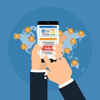 Publicités publicitaires numériques médias sociaux marketing en ligne.