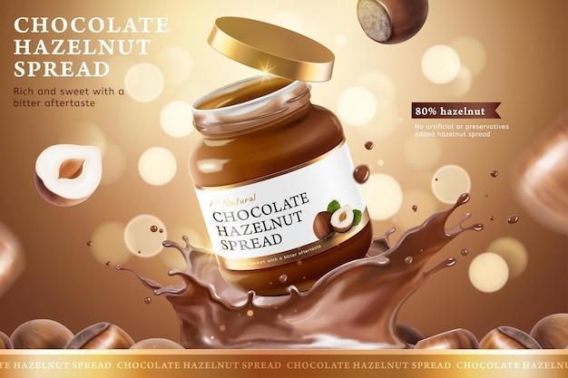 Publicités à tartiner aux noisettes au chocolat avec des éclaboussures de liquide sur fond marron pailleté bokeh en illustration 3d