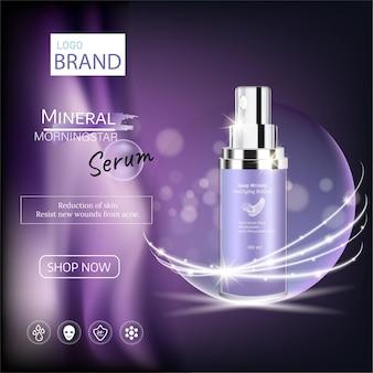 Publicités violettes avec essence produits premium de soins de la peau sur fond clair. illustration 3d vectorielle.
