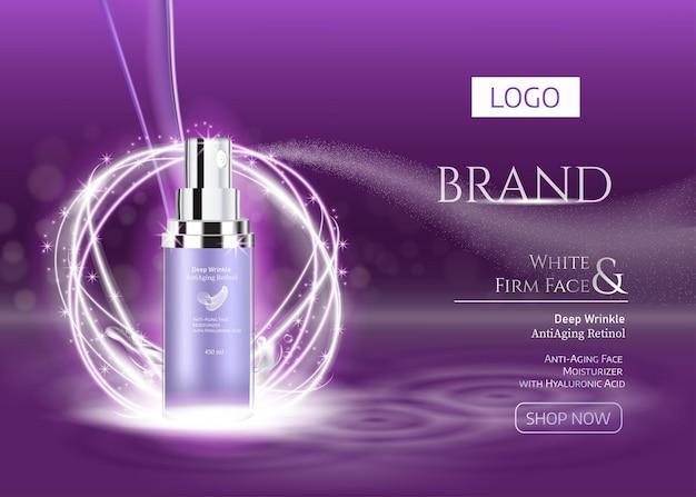 Publicités violettes avec essence produits de pulvérisation de qualité supérieure pour les soins de la peau et aérosol sur fond violet foncé