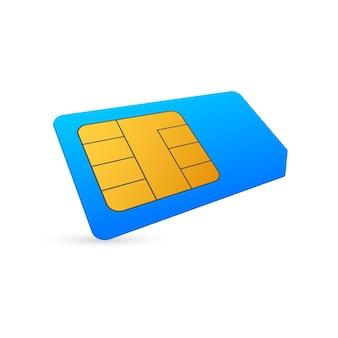 Puce de carte sim de téléphone cellulaire mobile de vecteur isolé sur fond. style isométrique.