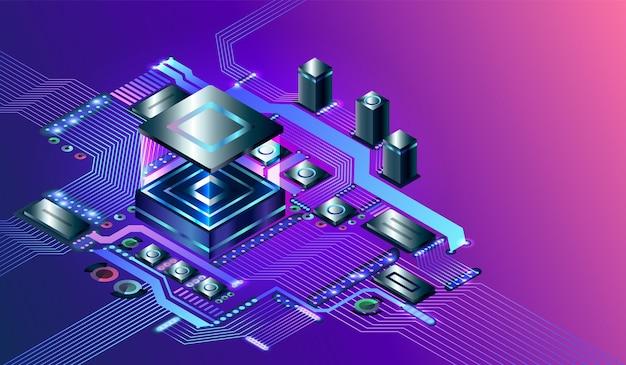 Puce de processeur sur circuit imprimé