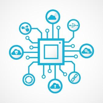 Puce de technologie de connexion intégrée avec des icônes numériques
