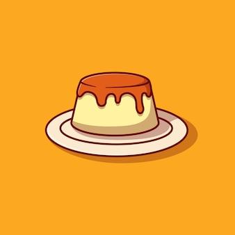 Pudding avec sauce aux bleuets conception d'illustration vectorielle
