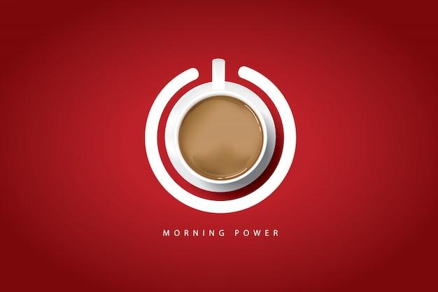 Puissance du matin. affiche de café avec une tasse de café et bouton d'alimentation