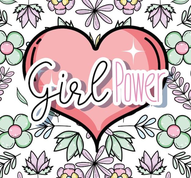 Puissance de la fille sur fond de coeur et de fleurs