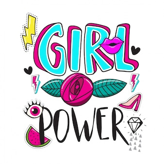 Puissance de fille lettrage dessiné main avec élément stiker et correctifs