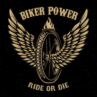 Puissance motard. roue avec ailes. élément pour logo, étiquette, emblème, signe, insigne, t-shirt, affiche. illustration