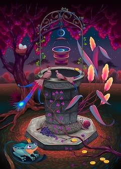 Le puits de souhait dans un jardin magique