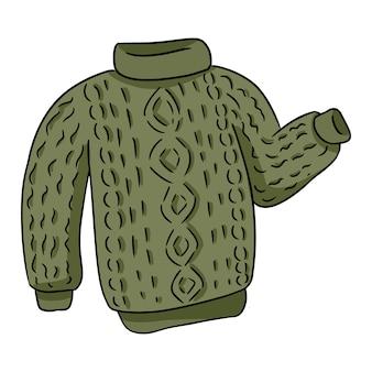 Pull coloré hipster tricoté vert doodle