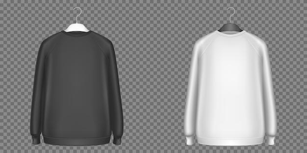 Pulls molletonnés noirs et blancs, chemises à manches longues