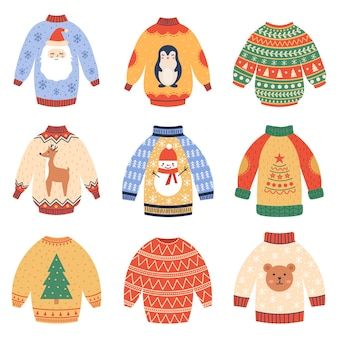 Pulls de vacances d'hiver pulls en laine de noël mignons ensemble de vecteurs de vêtements d'hiver de noël confortables