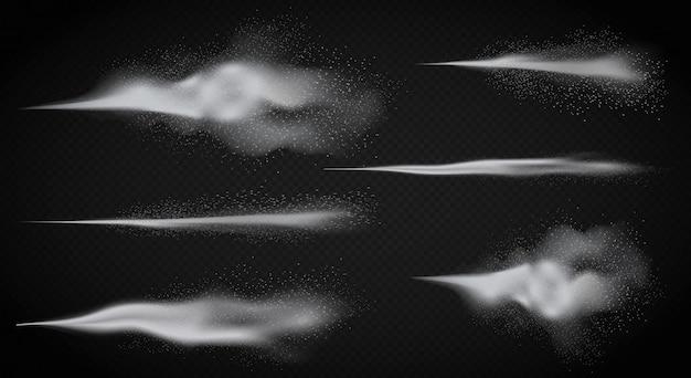 Pulvérisation D'eau Réaliste, Brume De Fumée Détaillée Blanche D'atomiseur Sur Le Fond Transperant Alpha Foncé Vecteur Premium