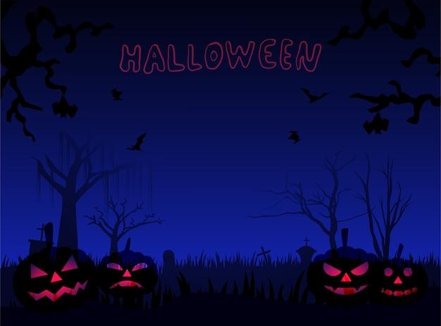 Pumkins d'halloween par terre et chauve-souris volante