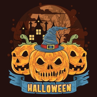 Pumpkin halloween trick ou traiter les oeuvres de tête de crâne