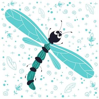 Punaise de dessin animé mignon vector, libellule, plat et griffonnages