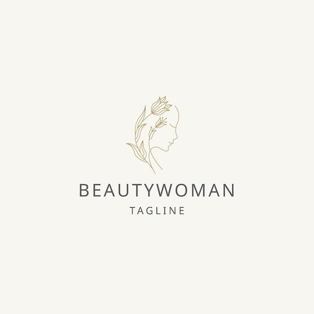 Pure beauté femme ligne art logo icône modèle de conception vecteur plat