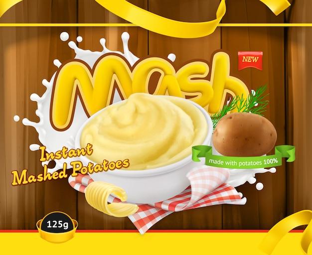 Purée de pommes de terre instantanée. emballage de conception, modèle vectoriel